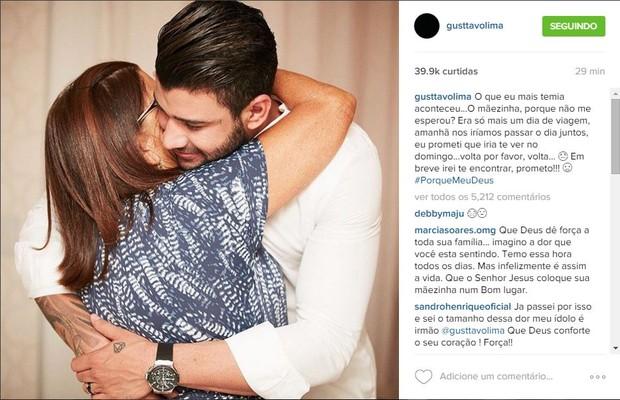 Gusttavo Lima sobre morte da mãe