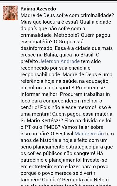 Aliados do Prefeito Jeferson Andrade dizem que a matéria no Jornal Metrópole foi comprada
