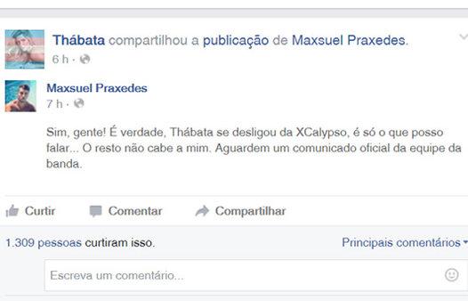 Thábata Mendes rompe com Ximbinha e deixa a XCalypso