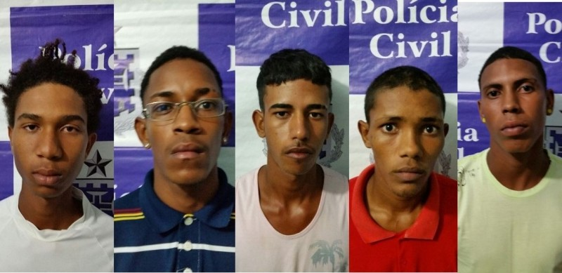 Cinco são presos e um menor é apreendido com drogas e arma em Candeias
