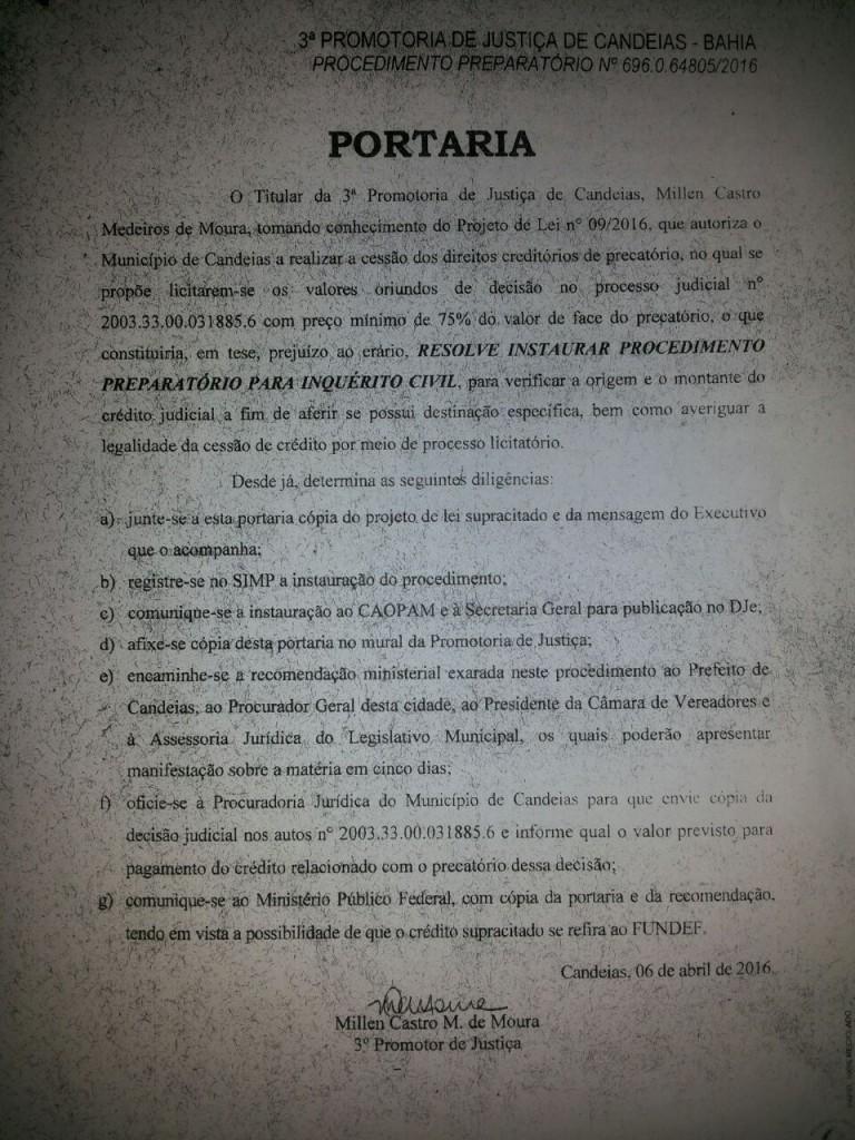 Candeias: Projeto obscuro do prefeito é imediatamente suspenso pelo MP