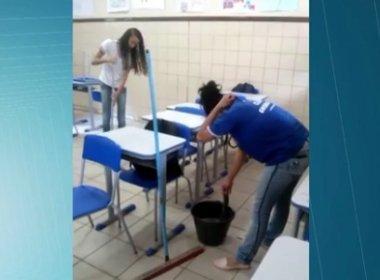 Estudantes limpam e lavam salas por conta de greve de servidores