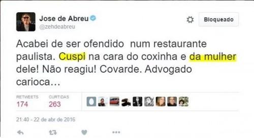 Vídeo: Ator petista José de Abreu cospe em casal após discussão em restaurante. Eca!