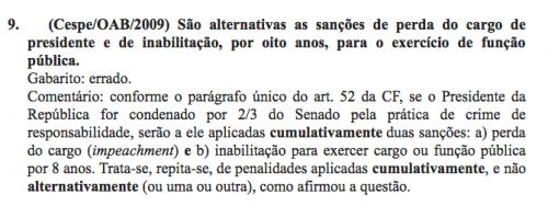 """Gabarito de prova da OAB de 2009 considerou """"errado"""" separar impeachment e inabilitação"""