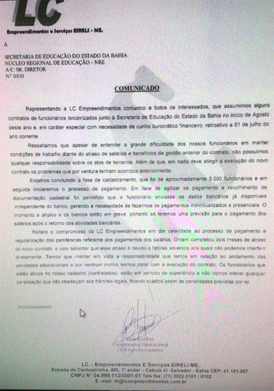Educação no lixo. Rui Costa promove calote generalizado a terceirizados na Chapada