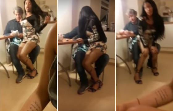 Ator da Globo aparece em vídeo com suposto travesti no colo