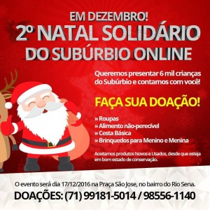 Vem aí 2º Natal Solidário do Subúrbio Ferroviário.