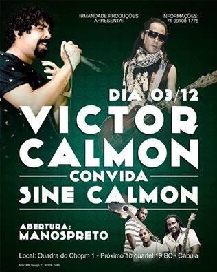 Show com Victor Calmon e Sine Calmon acontece no dia 3 no Cabula