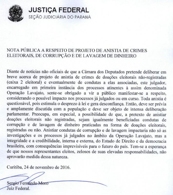 Para juiz Sérgio Moro, a anistia abala a democracia