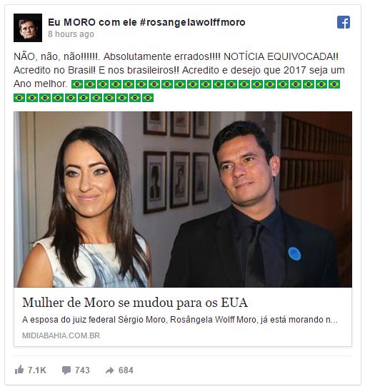 Esposa de Sérgio Moro desmascara mentira de site petista