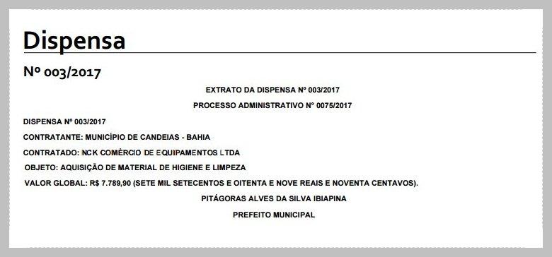 Prefeito Dr. Pitágoras convida empresa de Lauro de Freitas para fornecer material de limpeza